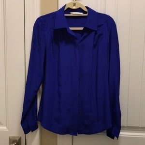 Trunk Turk Bright Blue 100% Silk Blouse